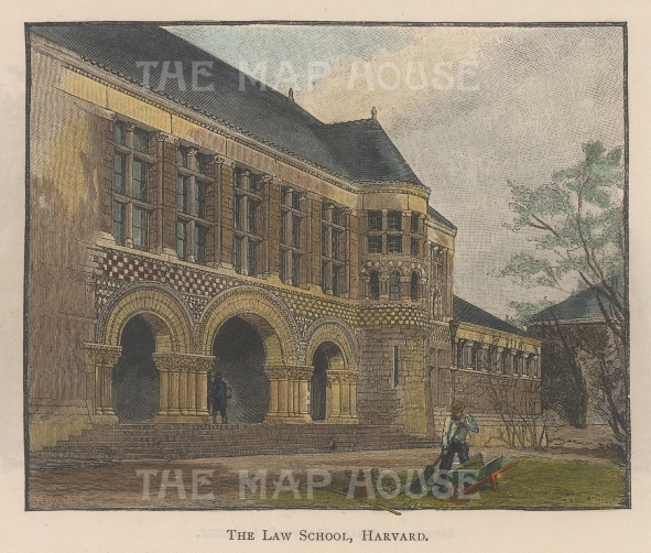 "Lovett: Harvard Uniersity, Massachusetts. 1891. A hand coloured original antique wood engraving. 5"" x 4"". [USAp4456]"