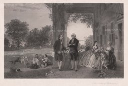 Mount Vernon with Washington's family. After T. P. Rossiter & L. R. Mignot, engraved by Thomas Oldham Barlow. The head of George Washington is based on a bust by Jean Antoine Houdon.