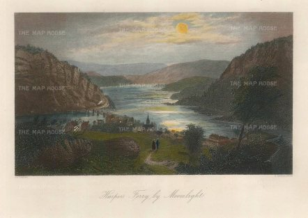 "Picturesque America: Harpers Ferry, Virginia. 1872. A hand coloured original antique steel engraving. 10"" x 7"". [USAp4477]"