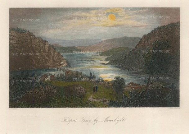 """Picturesque America: Harpers Ferry, Virginia. 1872. A hand coloured original antique steel engraving. 10"""" x 7"""". [USAp4477]"""