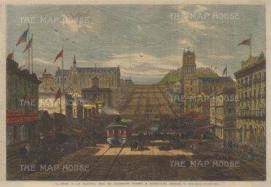 "Illustrated London News: San Francisco, California. 1866. A hand coloured original antique wood engraving. 14"" x 10"". [USAp4484]"