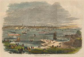 "Illustrated London News: Portland, Maine. 1859. A hand coloured original antique wood engraving. 9"" x 6"". [USAp4506]"