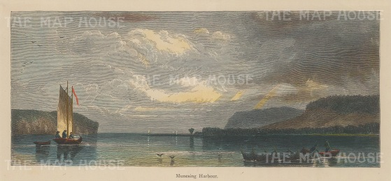 "Picturesque America: Munising Harbour, Michigan. 1876. A hand coloured original antique wood engraving. 9"" x 4"". [USAp4509]"