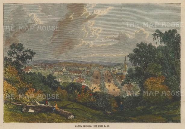 "Illustrated London News: Macon, Georgia. 1863. A hand coloured original antique wood engraving. 10"" x 7"". [USAp4519]"