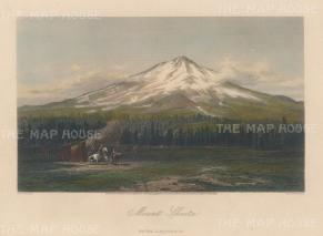 "Picturesque America: Mount Shasta, California. 1872. A hand coloured original antique steel engraving. 11"" x 8"". [USAp4527]"