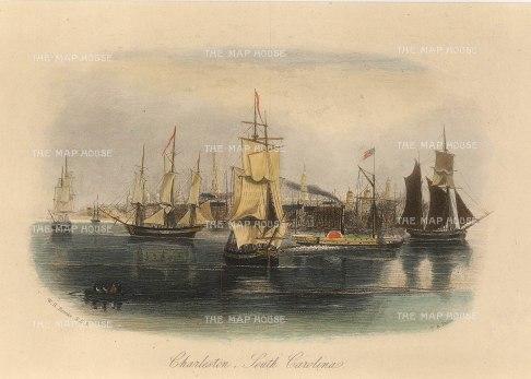 "Brooke: Charleston, South Carolina. c1840. A hand coloured original antique steel engraving. 7"" x 5"". [USAp4536]"