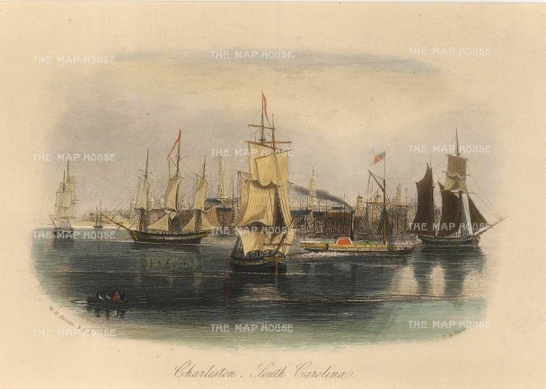 "Brooke: Charleston, South Carolina. c1840. A hand coloured original antique steel engraving. 7"" x 5"". [USAp4536]"