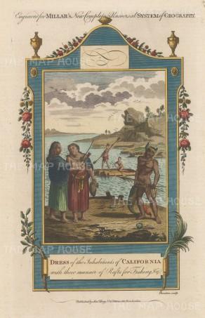 Millar: Native Californians. 1782. A hand coloured original antique copper engraving. [USAp4596]