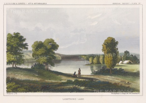 """U.S.P.R.R. Exp.: Lightning Lake, Montana. 1857. A hand coloured original antique lithograph. 10"""" x 7"""". [USAp4616]"""