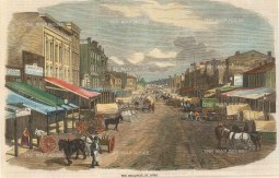 "Illustrated London News: St. Louis, Missouri. 1858. A hand coloured original antique wood engraving. 9"" x 6"". [USAp4640]"