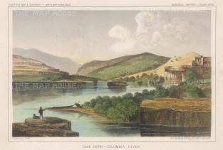 "U.S.P.R.R. Exp.: Cape Horn, Washington State. 1857. A hand coloured original antique lithograph. 10"" x 7"". [USAp4642]"