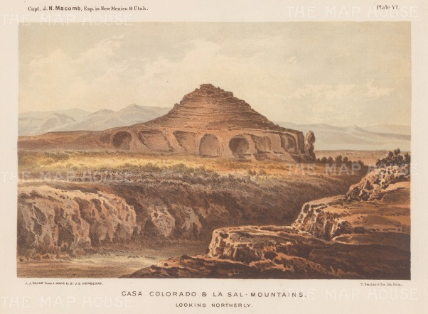 Colorado Desert (Sub Sonoran Desert): View with wagon train and Signal Mountain in the far distance.