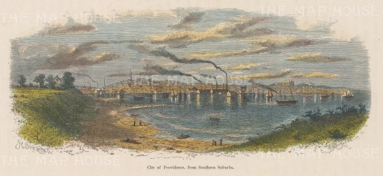 "Picturesque America: Providence, Rhode Island. c1872. A hand coloured original antique wood engraving. 9"" x 4"". [USAp4656]"