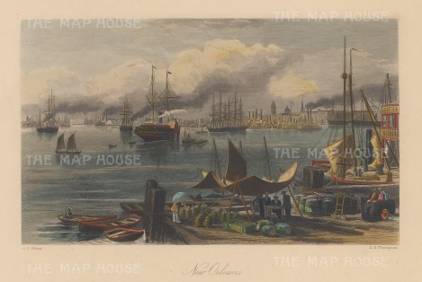 "Picturesque America: New Orleans, Louisiana. c1840. A hand coloured original antique steel engraving. 10"" x 7"". [USAp4729]"