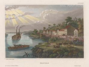 "Meyer: Kansas City, Missouri. 1836. A hand coloured original antique steel engraving. 7"" x 6"". [USAp4733]"