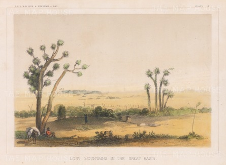 "U.S.P.R.R. Exp.: Lost Mountains, Great Basin, Oklahoma. 1857. A hand coloured original antique lithograph. 9"" x 6"". [USAp4768]"