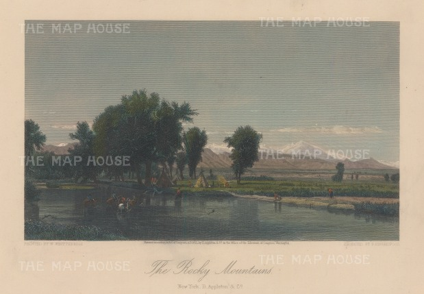 "Picturesque America: Rocky Mountains, Colorado. 1872. A hand coloured original antique steel engraving. 10"" x 7"". [USAp4780]"