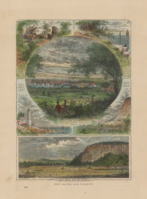 "Picturesque America: New Haven, Connecticut. 1876. A hand coloured original antique wood engraving. 10"" x 7"". [USAp4811]"