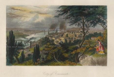 """Picturesque America: Cincinnati, Ohio.1872. A hand coloured original antique steel engraving. 10"""" x 7"""". [USAp4820]"""
