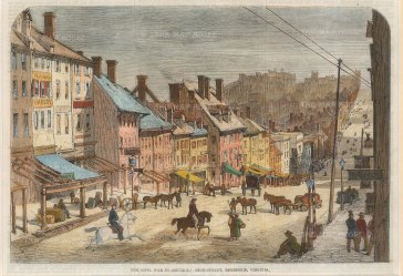 "Illustrated London News: Richmond, Virginia, 1862. A hand coloured original antique wood engraving. 8"" x 5"". [USAp4824]"