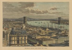 "Reclus: New York City. 1894. A hand coloured original antique wood engraving. 7"" x 5"". [USAp4829]"