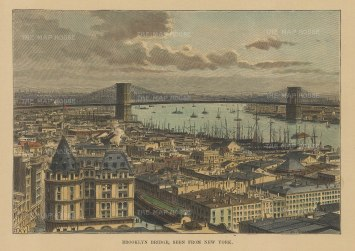 "Reclus: New York City. 1894. A hand coloured original antique wood engraving. 7"" x 5"". [USAp4829w]"