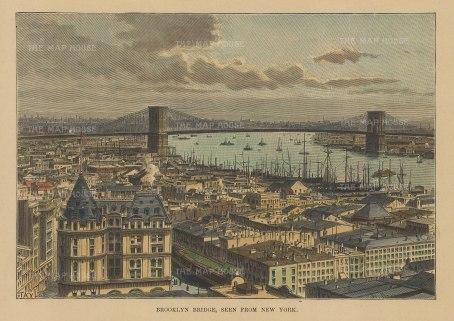 "Reclus: New York City. 1894. A hand coloured original antique wood engraving. 7"" x 5"". [USAp4829]"
