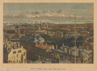 "Reclus: Boston, Massachusetts. 1894. A hand coloured original antique wood engraving. 7"" x 5"". [USAp4831]"