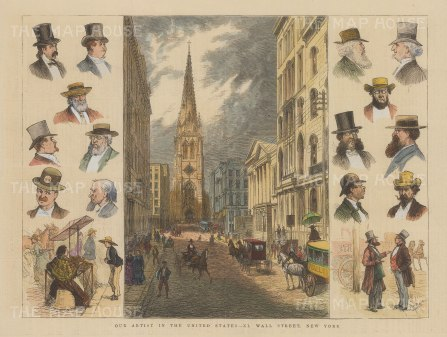 Wall Street: View towards Trinity Church with side panels of portraits of Wall Street types.