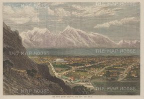 "Illustrated London News: Salt Lake City, Utah. 1869. A hand coloured original antique wood engraving. 14"" x 9"". [USAp4882]"