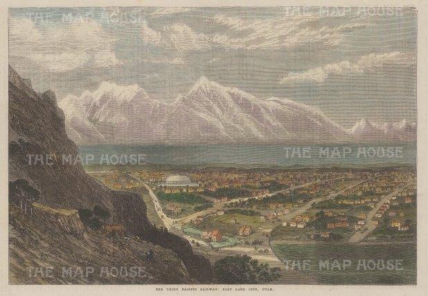 "Illustrated London News: Salt Lake City, Utah. 1869. A hand coloured original antique wood engraving. 14"" x 9"". [USAp4882]"