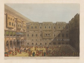 Mourad Palace: Mamluks exercising in the Square. Murad Bey effectively ruled Egypt jointly with Ibrahim Bey in the late 18th century.