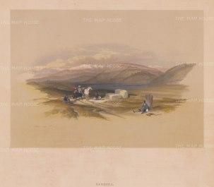 "Roberts: Sarepta, Lebanon. 1843. A hand coloured original antique lithograph. 14"" x 10"". [MEASTp1329]"