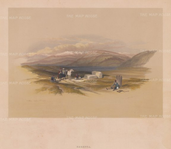 "Roberts: Sarepta. 1843. A hand coloured original antique lithograph. 14"" x 10"". [MEASTp1329]"