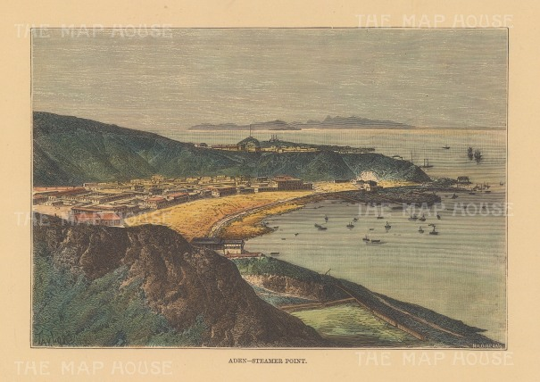 "Reclus: Aden, Yemen. 1894. A hand coloured original antique wood engraving. 8"" x 6"". [M]EASTp1649]"