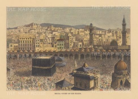 "Reclus: Mecca., Saudi Arabia. 1894. A hand coloured original antique wood engraving. 8"" x 6"". [MEASTp165]"