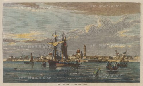 "Illustrated London News: Vera Cruz. 1867. A hand coloured original antique wood engraving. 14"" x 7"". [MEXp167]"
