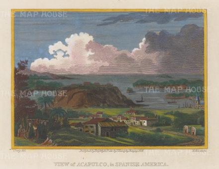 """Craig: Acapulco. 1812. A hand coloured original antique copper engraving. 8"""" x 7"""". [MEXp208]"""