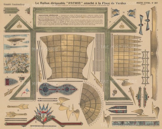 Dirigible Aerostat, navigatable balloon 'Patrie': Details of parts with explanation in French.