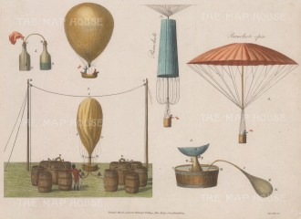 "Anonymous: Dirigble balloon. 1907. A hand coloured original antique copper engraving. 10"" x 8"". [MISCp5598]"