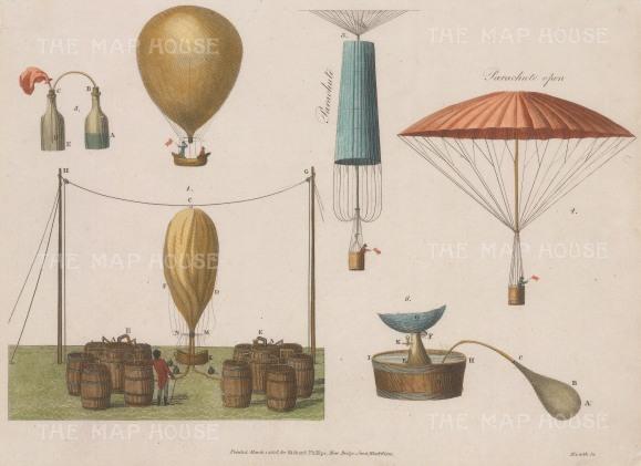"Anonymous: Dirigble balloon. 1907. A hand coloured original antique copper engraving. 10"" x 8"". [MISCp5598]"