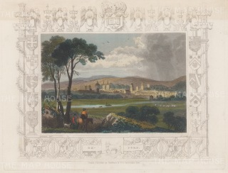 """Tombleson: Oxford. 1845. A hand coloured original antique steel engraving. 7"""" x 5"""". [OXONp812]"""