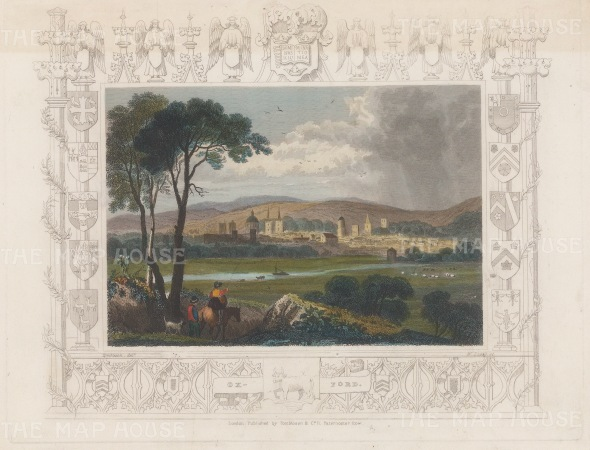 "Tombleson: Oxford. 1845. A hand coloured original antique steel engraving. 7"" x 5"". [OXONp812]"