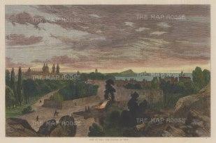 "Illustrated London News: Lima. 1864. A hand coloured original antique wood engraving.14"" x 10"". [SAMp1026]"