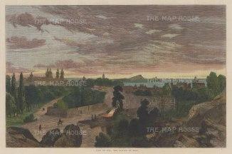 "Illustrated London News: Lima, Peru. 1864. A hand coloured original antique wood engraving.14"" x 10"". [SAMp1026]"