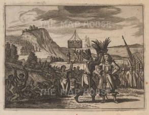 "Ogilby: Incas crowning Pisarro, Peru. 1671 An original antique copper engraving. 7"" x 6"". [SAMp1070]"