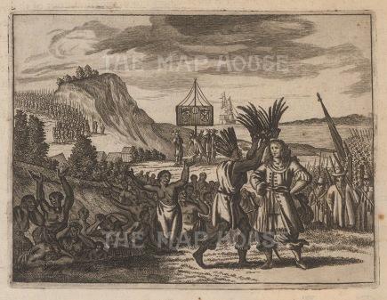 """Ogilby: Incas crowning Pisarro, Peru. 1671 An original antique copper engraving. 7"""" x 6"""". [SAMp1070]"""