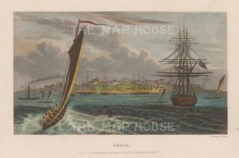 "Kelly: Bahia. c1840. A hand coloured original antique steel engraving. 8"" x 5"". [SAMp1097]"