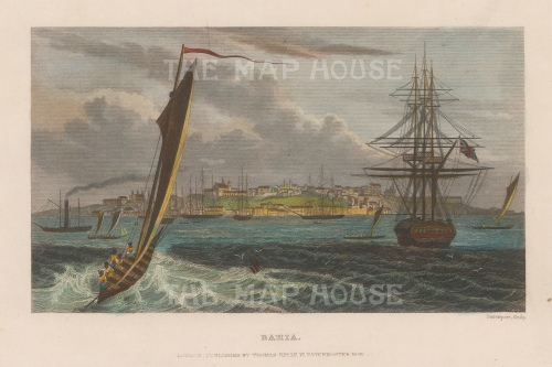 "Kelly: Bahia. c1840. A hand coloured original antique steel engraving. 8"" x 5"". [SAMp1097]"
