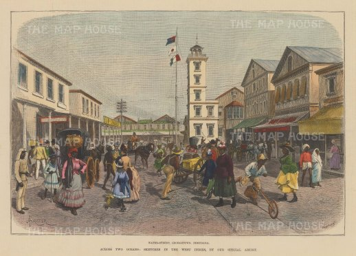 "Illustrated London News: Georgetown, Guyana. 1888. A hand coloured original antique wood engraving. 14"" x 10"". [SAMp1127]"